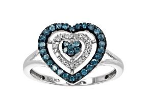 Blue Velvet Diamonds™ And White Diamond Rhodium Over Sterling Silver Heart Ring 0.35ctw