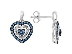 Blue Velvet Diamonds™ And White Diamond Rhodium Over Sterling Silver Heart Earrings 0.60ctw