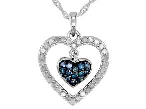 White And Blue Diamonds Rhodium Over Sterling Silver Double Heart Pendant 0.60ctw