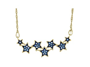 Blue Diamond 14k Yellow Gold Over Sterling Silver Star Necklace 0.30ctw