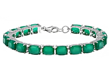 Picture of Green Onyx Rhodium Over Sterling Silver Line Bracelet