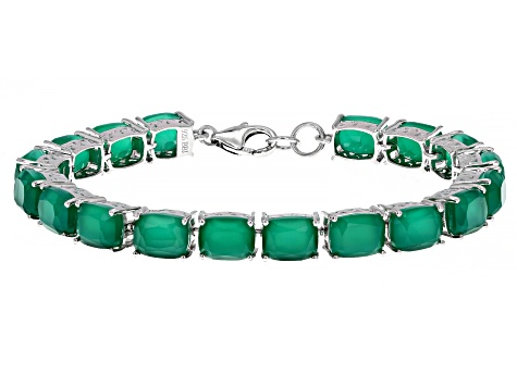 Green Onyx Rhodium Over Sterling Silver Line Bracelet