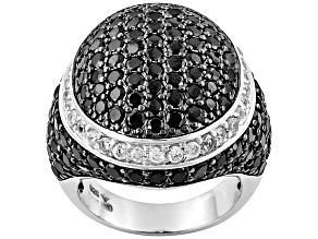 Black Spinel Sterling Silver Ring 7ctw