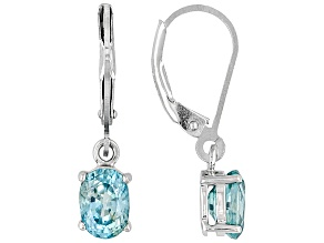 Blue Zircon Sterling Silver Earrings 2.14ctw