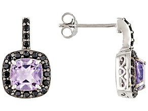 Purple amethyst rhodium over sterling silver earrings 2.02ctw
