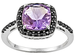 Purple Amethyst Rhodium Over Sterling Silver Ring 2.49ctw