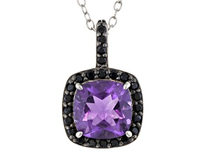 Purple Brazilian Amethyst Rhodium Over Sterling Silver Pendant With Chain 1.85ctw