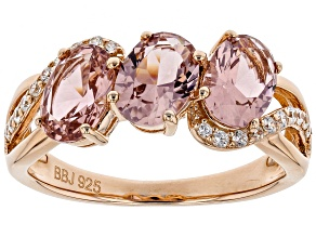 Morganite Simulant And White Cubic Zirconia 18K Rose Gold Over Sterling Silver Ring 2.59CTW