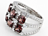 Blush Zircon Simulant And White Cubic Zirconia Rhodium Over Sterling Silver Ring 7.74CTW