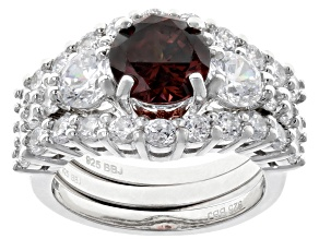 Blush Cubic Zirconia Rhodium Over Sterling Silver Ring With Bands 8.41CTW