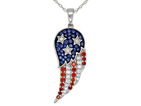 Blue, Red, and White Cubic Zirconia Rhodium Over Sterling Silver Flag Pendant With Chain 1.57ctw