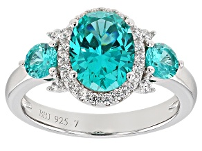 Blue Lab Created YAG and White Cubic Zirconia Rhodium Over Sterling Ring 3.14ctw
