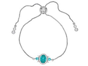 Blue Lab Created YAG & White Cubic Zirconia Rhodium Over Sterling Silver Adjustable Bracelet 2.33ctw