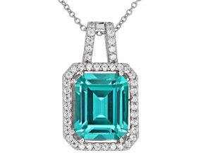 Blue Lab Created YAG and White Cubic Zirconia Rhodium Over Silver Pendant With Chain 6.70ctw