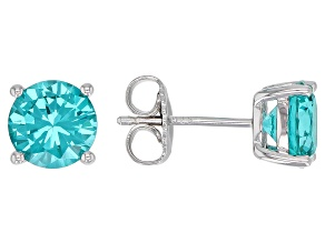 Blue Lab Created YAG Rhodium Over Sterling Silver Stud Earrings 3.12ctw