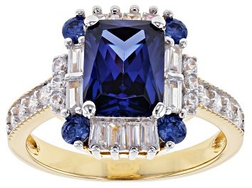 Picture of Blue and White Cubic Zirconia 18k Yellow Gold Over Sterling Silver Ring 5.74ctw