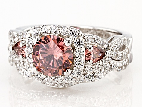 Blush and White Cubic Zirconia Rhodium Over Sterling Silver Ring With Band 4.33ctw