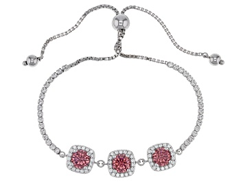 Picture of Blush and White Cubic Zirconia Rhodium Over Sterling Silver Adjustable Bracelet 7.20ctw