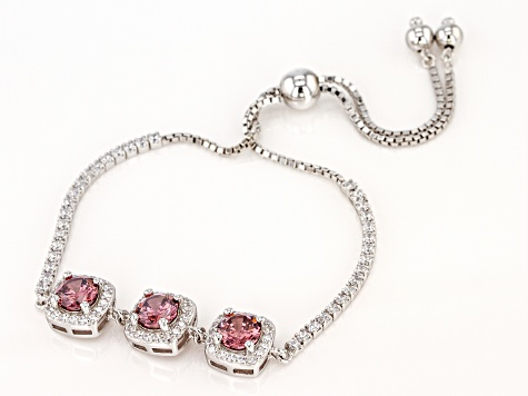 Blush and White Cubic Zirconia Rhodium Over Sterling Silver Adjustable Bracelet 7.20ctw