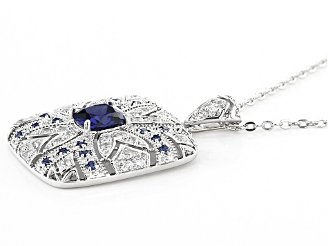 Blue and White Cubic Zirconia Rhodium Over Sterling Silver Pendant With Chain 2.01ctw