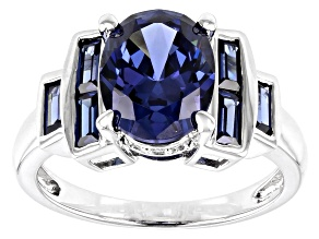 Blue and White Cubic Zirconia Rhodium Over Sterling Silver Ring 5.27ctw