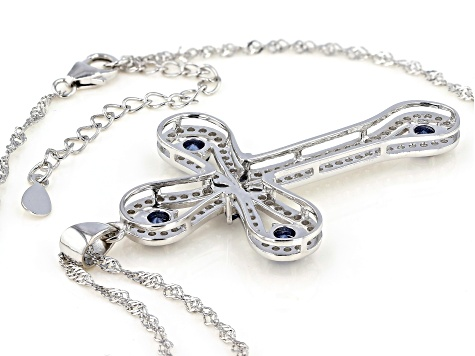 Blue and White Cubic Zirconia Rhodium Over Sterling Silver Cross Pendant With Chain 3.80ctw