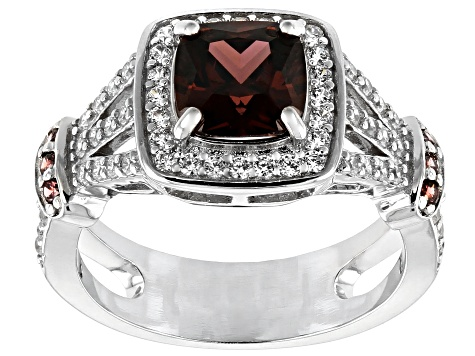 Blush and White Cubic Zirconia Rhodium Over Sterling Silver Ring 3.65ctw