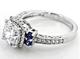 Blue and White Cubic Zirconia Rhodium Over Sterling Silver Ring 4.96ctw