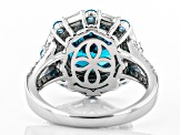 Blue and White Cubic Zirconia Rhodium Over Sterling Silver Ring 7.93 ctw