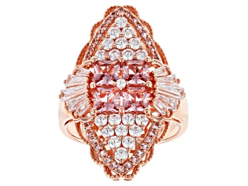 Picture of Pink and White Cubic Zirconia 18k Rose Gold Over Sterling Silver Ring 3.30ctw
