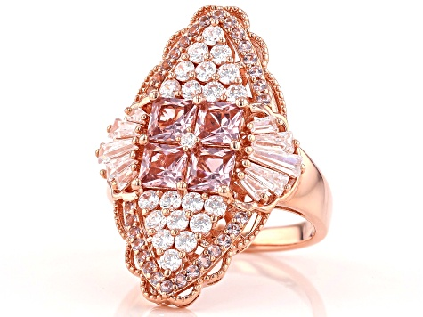Pink and White Cubic Zirconia 18k Rose Gold Over Sterling Silver Ring 3.30ctw