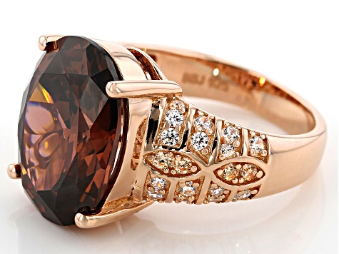 Blush, Champagne, and White Cubic Zirconia 18k Rose Gold Over Silver Ring 17.43ctw