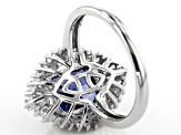 Blue and White Cubic Zirconia Rhodium Over Sterling Silver Ring 7.08ctw