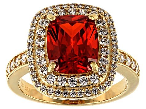 Orange and White Cubic Zirconia 18k Yellow Gold Over Sterling Silver Ring 6.40ctw