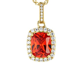 Orange and White Cubic Zirconia 18k Yellow Gold Over Sterling Silver Pendant With Chain 5.97ctw