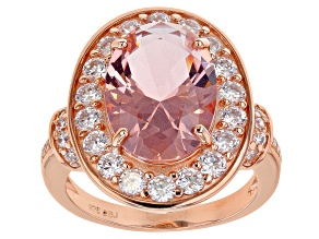 Peach Morganite Simulant and White Cubic Zirconia 18k Rose Gold Over Sterling Silver Ring 8.27ctw