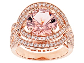Pink Morganite Simulant and White Cubic Zirconia 18k Rose Gold Over Sterling Silver Ring 5.16ctw