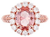 Pink Morganite Simulant and White Cubic Zirconia 18k Rose Gold Over Silver Ring 4.60ctw