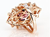 Blush and White Cubic Zirconia 18k Rose Gold Over Sterling Silver Ring 7.18ctw