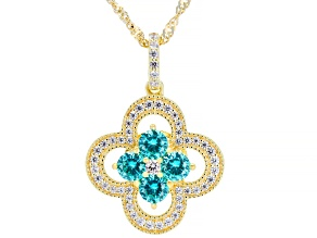 Blue and White Cubic Zirconia 18k Yellow Gold Over Sterling Silver Pendant With Chain 1.70ctw