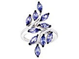 Blue Cubic Zirconia Rhodium Over Sterling Silver Ring 3.60ctw
