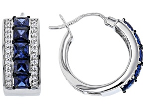 Blue and White Cubic Zirconia Rhodium Over Sterling Silver Earrings 6.61ctw