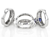 Blue and White Cubic Zirconia Rhodium Over Sterling Silver Rings With Guard 11.54ctw