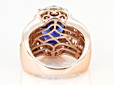 Blue and White Cubic Zirconia 18k Rose Gold Over Sterling Silver Ring 12.25ctw