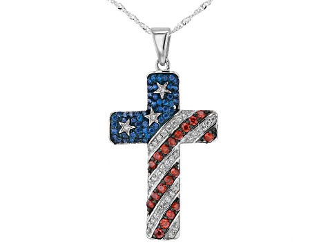 Red, White, and Blue Cubic Zirconia Rhodium Over  Silver Flag Cross Pendant With Chain 2.47ctw