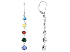 Multicolor Cubic Zirconia Rhodium Over Sterling Silver Earrings 6.35ctw