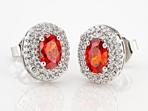 Orange and White Cubic Zirconia Rhodium Over Sterling Silver Earrings 1.64ctw