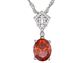 Orange and White Cubic Zirconia Rhodium Over Sterling Silver Pendant With Chain 4.48ctw