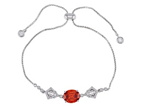 Orange and White Cubic Zirconia Rhodium Over Sterling Silver Adjustable Bracelet 5.22ctw