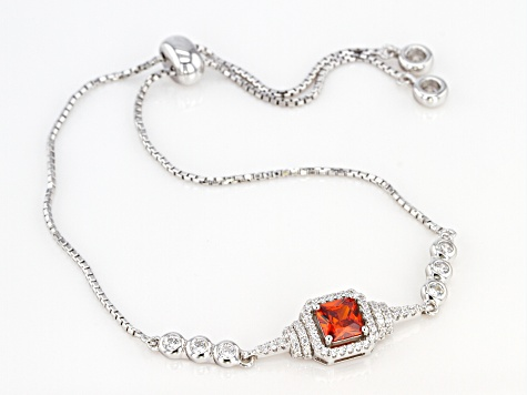 Orange and White Cubic Zirconia Rhodium Over Sterling Silver Adjustable Bracelet 2.22ctw